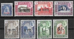 Aden-Kathiri # 20-27  New Currency Overprints   (8)  VLH Unused