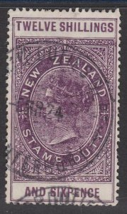 NEW ZEALAND 1880 LONG TYPE STAMP DUTY 12/6d used............................J249
