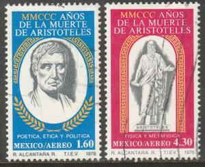 MEXICO C579-C580, Anniv. of the death of Aristotle. USED  F-VF. (806)