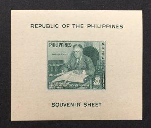 Philippines 1950 #C70 S/S, FDR, MNH.