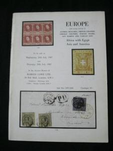 ROBSON LOWE AUCTION CATALOGUE 1965 EUROPE & EGYPT