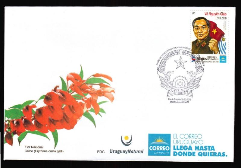 Vo Nguyên Giàp Viet Nam leader flags NOVELTY URUGUAY MNH FDC coVER