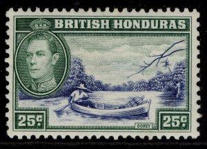BRITISH HONDURAS GVI SG157, 25c blue & green, M MINT.