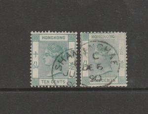 Hong Kong 1882/96 10c Deep blue Green wth Green, Used SG 37 Good perfs