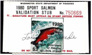 FWAS10 Used... Washington State Salmon License... SCV $2.00