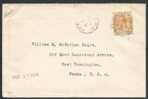GRENADA 1924 GV 2d on cover to USA.........................................51459