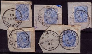 STRAITS SETTLEMENTS 1892-93 5 pieces SINGAPORE cds - ......................32300