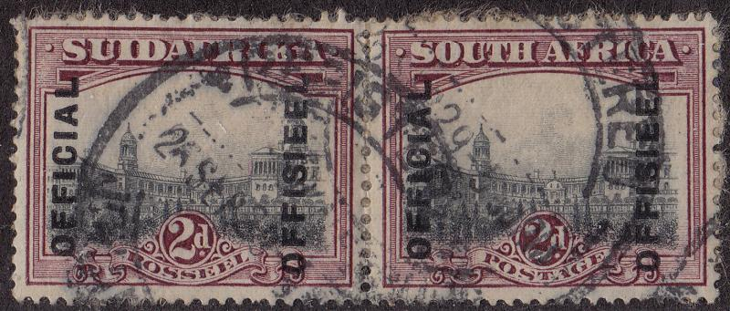 SOUTH AFRICA Used Scott # O5c Official pair 17mm spacing - on paper (2 Stamps)