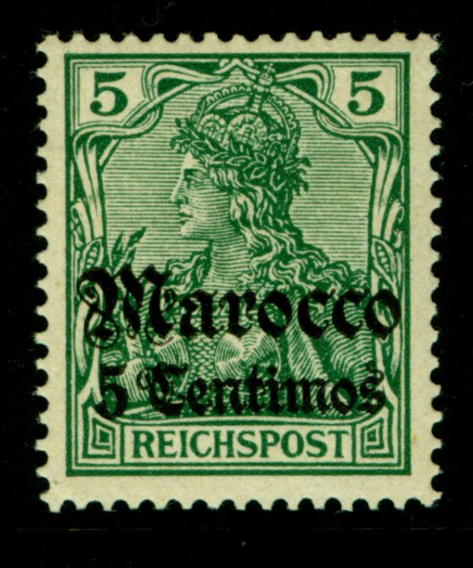German Colonies - Offices in MOROCCO 1905  SURCHARGED  5c /5pf  Sc# 32A MINT MH