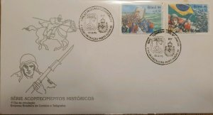 A) 1995, BRAZIL, HISTORICAL EVENTS, FDC, 50 YEARS OF THE TAKING OF MONTE CASTELL