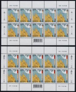 Estonia 501-2 sheets MNH Lighthouse, Map