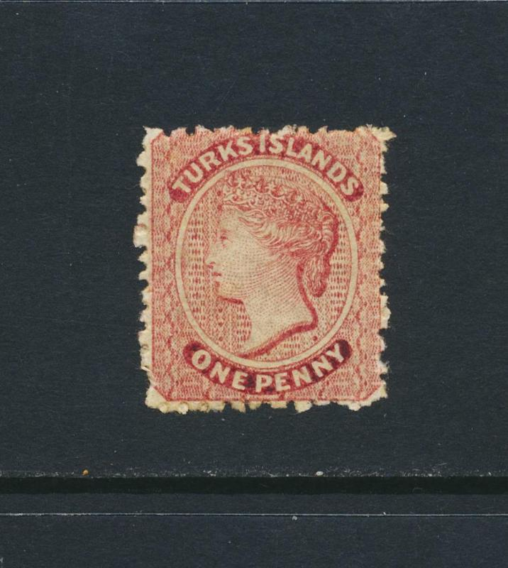 TURKS IS 1867, 1d RED VF MLH SG#1 CAT£65 $85 (SEE BELOW
