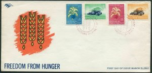 Indonesia 585-588,FDC.Michel 388-391. FAO Freedom from Hunger campaign,1963.