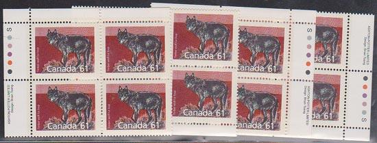 Canada - 1990 61c Timber Wolf Imprint Blocks VF-NH #1175