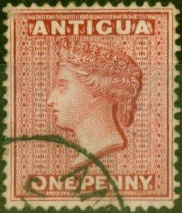 Antigua 1876 1d Lake-Rose SG17 Fine Used