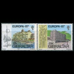 GIBRALTAR 1987 - Scott# 499-500 Europa-Bldgs Set of 2 NH