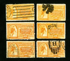 US Stamps # E3 F-VF Lot of 6 Used Catalog Value $300.00