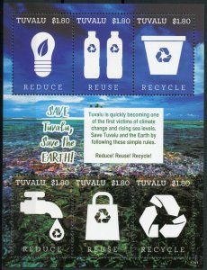 Tuvalu 2017 MNH Save the Earth Recycling 6v M/S Science Environment Stamps