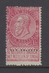 Belgium Sc 72 MLH. 1893 1fr King Leopold II on light green paper