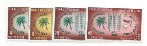 Kuwait, 193-96, Freedom from Hunger Singles, MNH