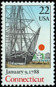 SC#2340 22¢ Bicentenary Statehood: Connecticut Single (1988) MNH