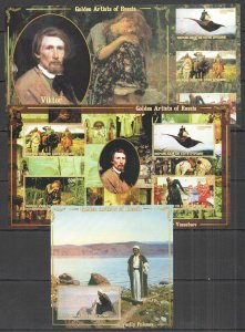 F0585 IMPERF IVORY COAST ART PAINTINGS GOLDEN ARTISTS OF RUSSIA 2KB+1BL MNH