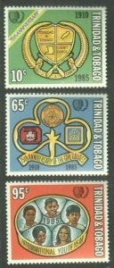 TRINIDAD AND TOBAGO 1985 UNO YOUTH YEAR SET OF 3 STAMPS MNH R2021374