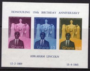 GHANA SGMS206a 1959 150th BIRTH ANNIV OF ABRAHAM LINCOLN MNH