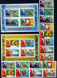 Zaire 1979, (Congo) River expedition set with S/S and unperf. MNH Sc# 902-909