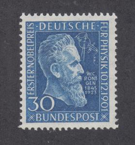 Germany Sc 686 MNH. 1951 30pf blue W.C. Rontgen, cplt set, F-VF