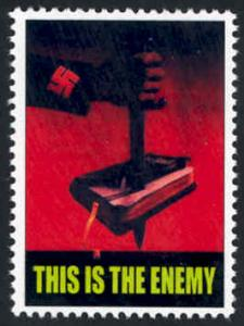 Patriotic WW2 Poster Stamp - This Is The Enemy - Cinderella