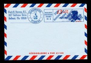 UNITED POSTAL STATIONERY SOCIETY KENNEDY AEROGRAMME 13¢ CLEARWATER FL 1970