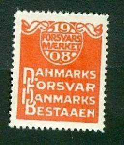 Denmark. Poster Stamp  Military Defence Seal 1908 MNH