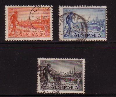 Australia Sc 142-4 1934 Victoria Tribesman stamp set used