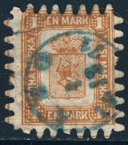 FINLAND 1866 1 Markka Brown on White Wove Paper Roulette 8 Type iii SG 49 FU