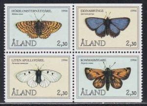 Aland # 78-81, Butterflies, Block of Four, NH, 1/2 Cat.