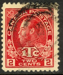 CANADA 1916 KGV 2c + 1c Carmine WAR TAX STAMP Sc MR3 VFU