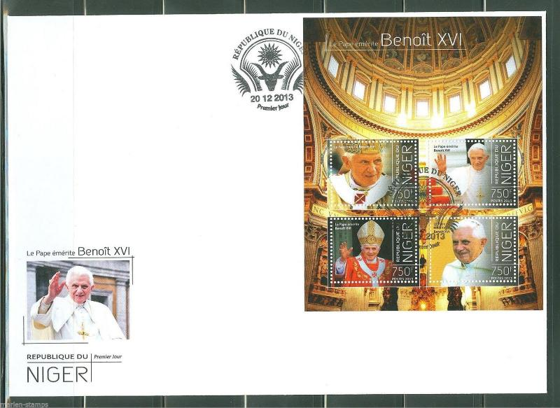 NIGER  2013  POPE BENEDICT XVI SHEET FIRST DAY COVER