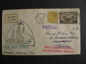 Canada Germany cover return to sender handstamp FFC Ottawa,Bradore Bay Jul 12/32