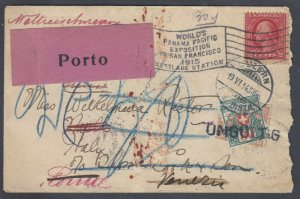 US 1915 cover from Panama Pacific Exposition to ITALY and SWIT, with POSTAGE DUE