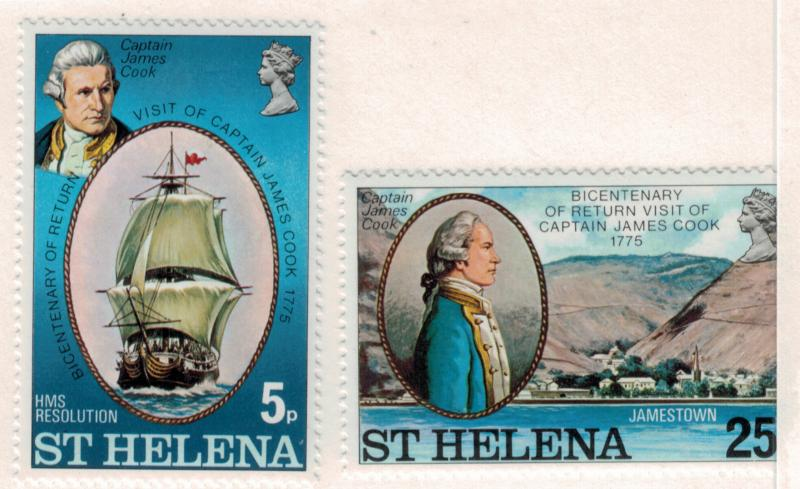 St. Helena Scott #287 To 288, Return of Captain Cook to St. Helena in 1775 Is...
