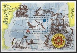 TRISTAN DA CUNHA 1974 MAP PENGUIN BIRDS Souvenir Sheet Sc 195 MLH