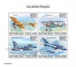 TOGO - 2019 - French Planes - Perf 4v Sheet - MNH