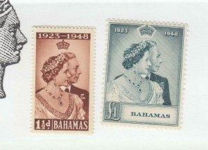 BAHAMAS # 148-149 VF-MNH 1948  KING GEORGE VI SILVER WEDDING-SET#2 CAT VALUE $45