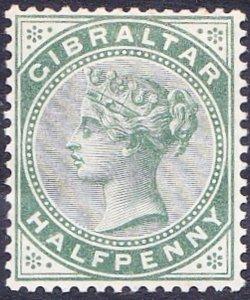 GIBRALTAR 1887 QV 1/2d Dull Green SG8 MH