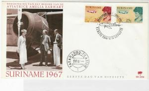 Suriname 1967 Amelia Earhart Air flight First day issue stamps cover ref 21770