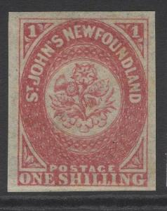 NEWFOUNDLAND SG23 1862 1/- ROSE-LAKE MTD MINT