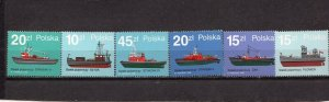 POLAND 1988  SHIPS SET OF 6 STAMPS MNH