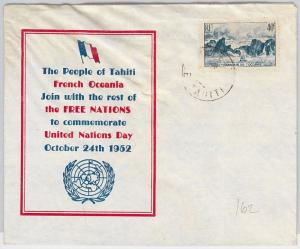 Océanie TAHITI  -  POSTAL HISTORY - SPECIAL COVER  : United Nations 1952