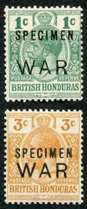 British Honduras SG119s/20s WAR Stamps Opt SPECIMEN M/M (1c no gum)
